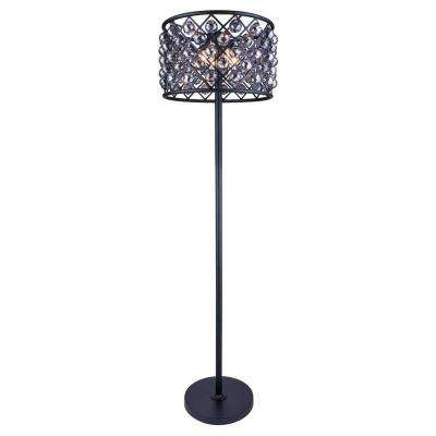 Madison 72 in. Mocha Brown Floor Lamp with Silver Shade Grey Crystal