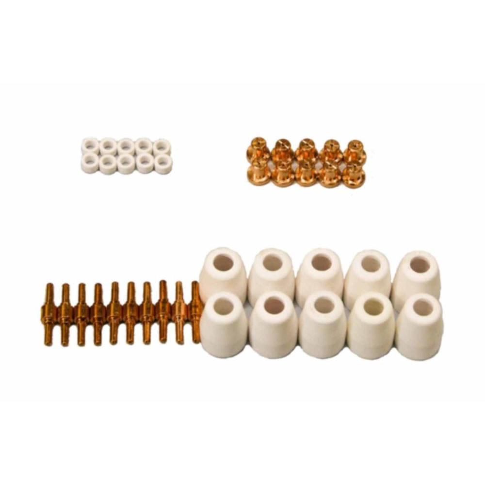 Lotos Plasma Cutter Nozzles, Electrodes, Cups and Rings Set (40-Piece) for Lotos NON-Pilot Arc LT3500, LT5000D and CT520D
