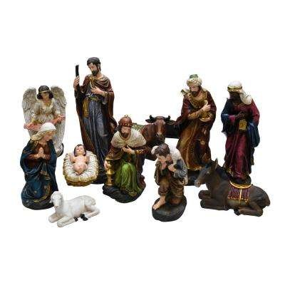 17.25 in. Christmas Holy Family and 3 Kings Inspirational Religious Nativity Set (11-Piece)