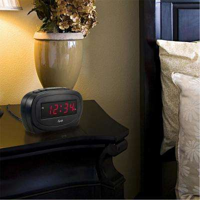 Digital 0.60 in. Red LED Electric Black Alarm Table Clock