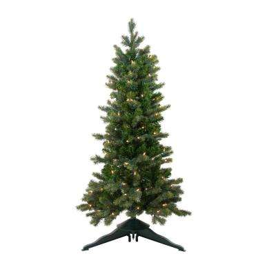 48 in. Pre-Lit Savannah Spruce Slim Artificial Christmas Tree with Clear Lights