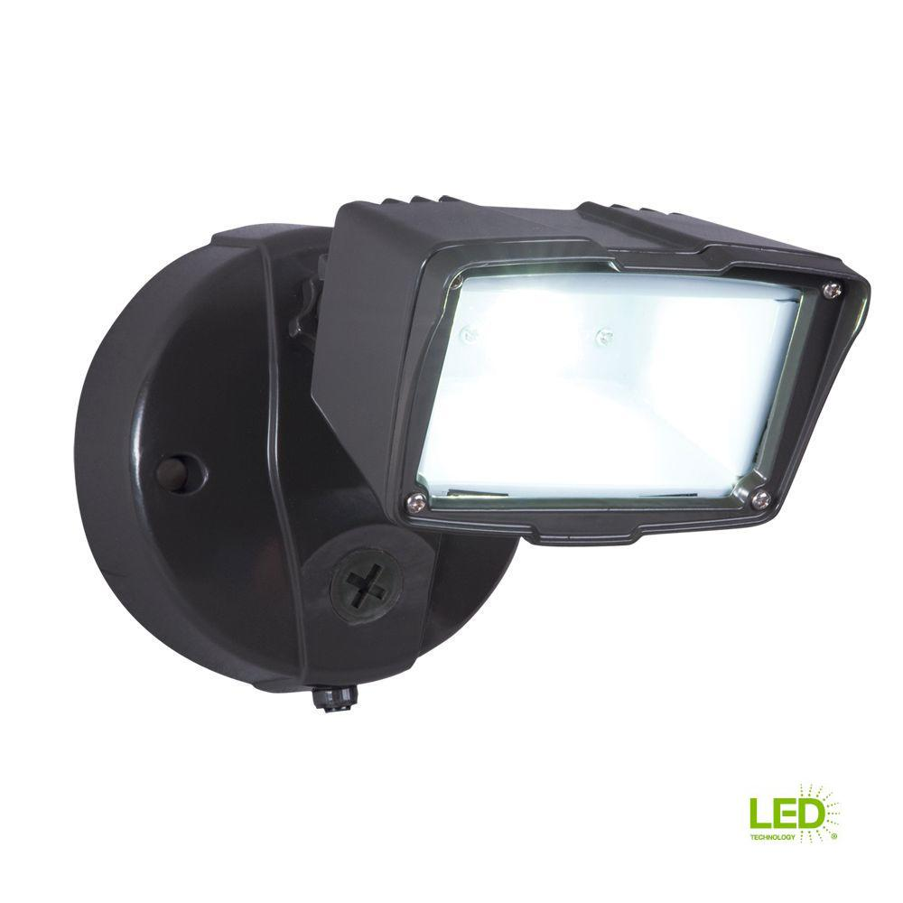 Single Outdoor Flood Light Fixture: All-Pro Bronze Outdoor Integrated LED Small Single-Head