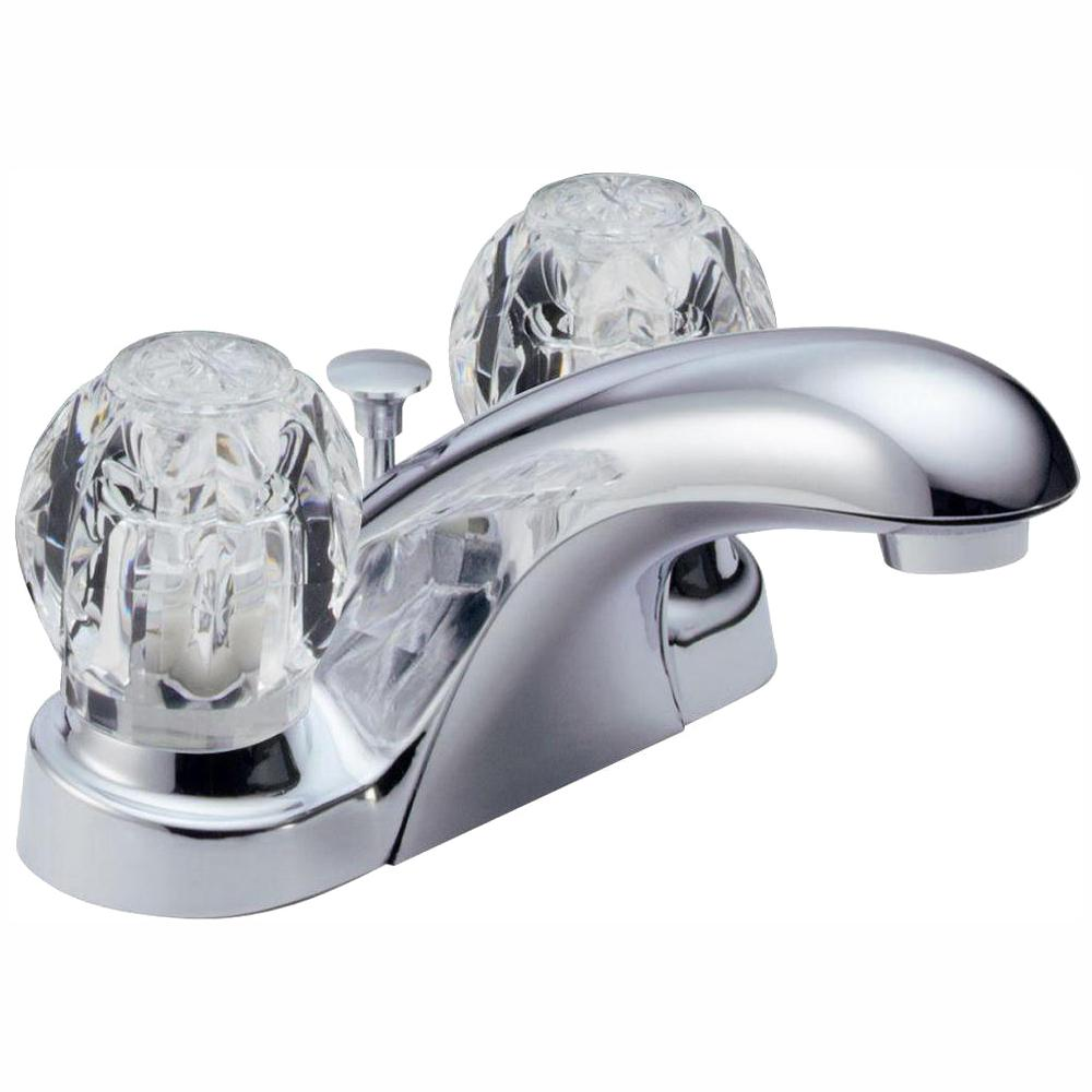 Delta Foundations 4 in. Centerset 2-Handle Bathroom Faucet with Metal Drain Assembly in Chrome