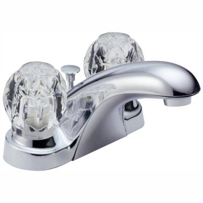 Foundations 4 in. Centerset 2-Handle Bathroom Faucet with Metal Drain Assembly in Chrome