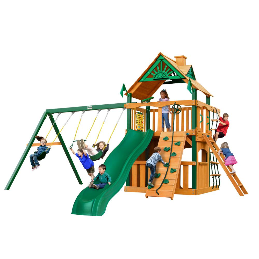 Gorilla Playsets Chateau Clubhouse Wooden Swing Set with Timber Shield Posts, Slide and Rock Wall