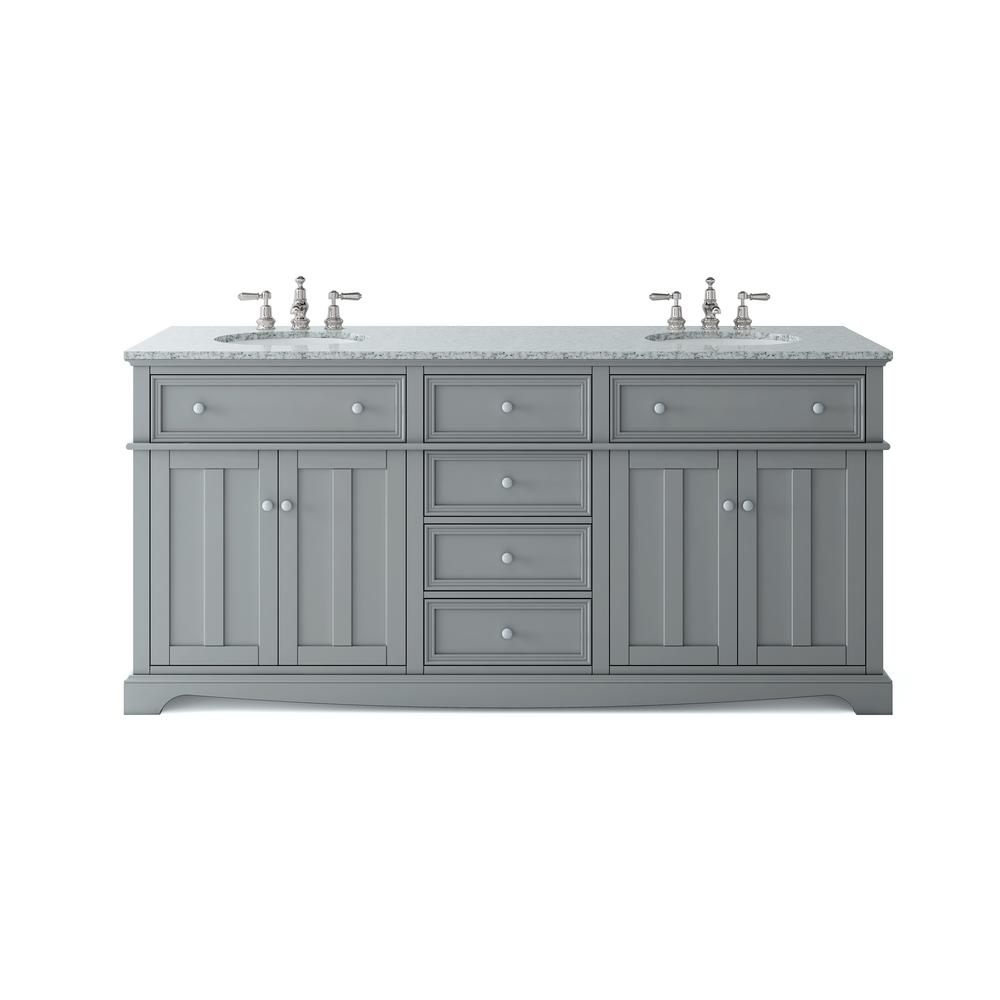 Home Decorators Collection Fremont 72 in. W x 22 in. D Double Vanity in Grey with Granite Vanity Top in Grey with White Sink