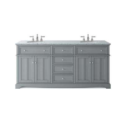 Wondrous Fremont 72 In W X 22 In D Double Vanity In Grey With Granite Vanity Top In Grey With White Sink Home Remodeling Inspirations Cosmcuboardxyz