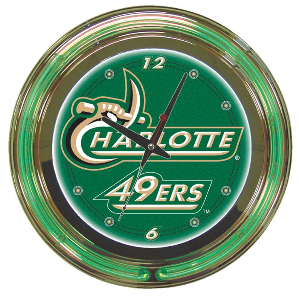 14 in. University of North Carolina Charlotte Neon Wall Clock