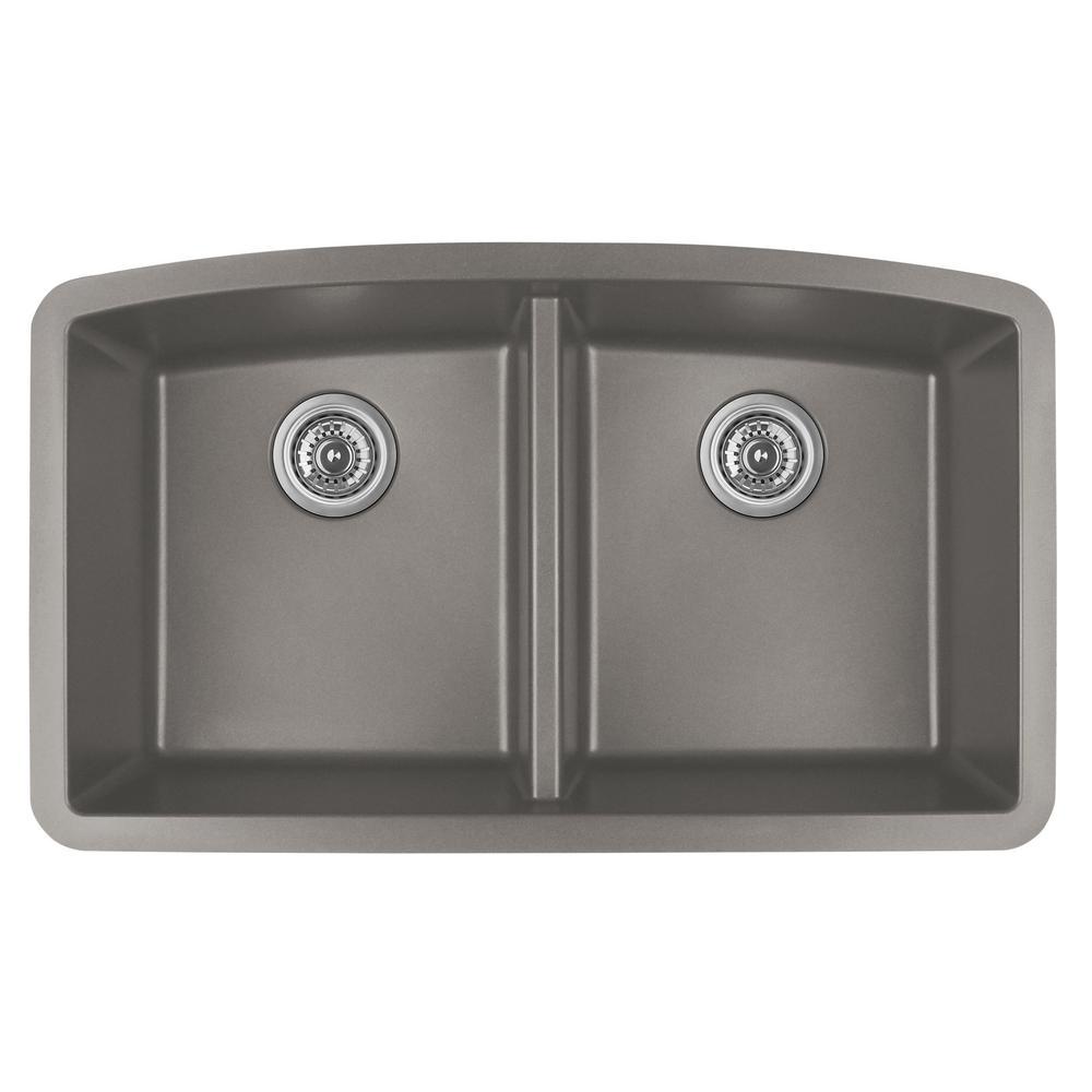 Undermount Quartz Composite 32 in. 50/50 Double Bowl Kitchen Sink in Concrete