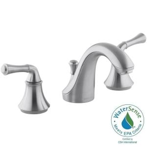 Brushed Chrome Bathroom Faucets kohler forte 8 in. widespread 2-handle low-arc bathroom faucet in