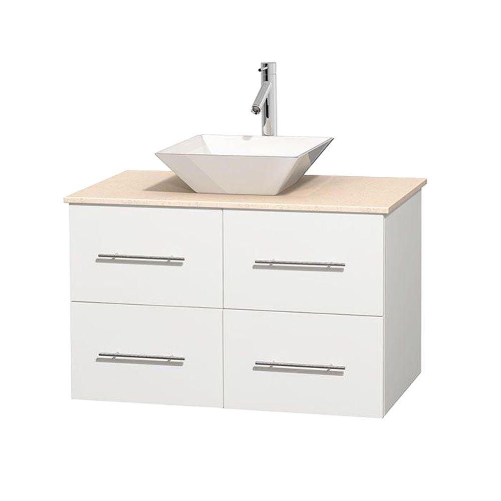 Wyndham Collection Centra 36 in. Vanity in White with Marble Vanity Top in Ivory and Porcelain Sink