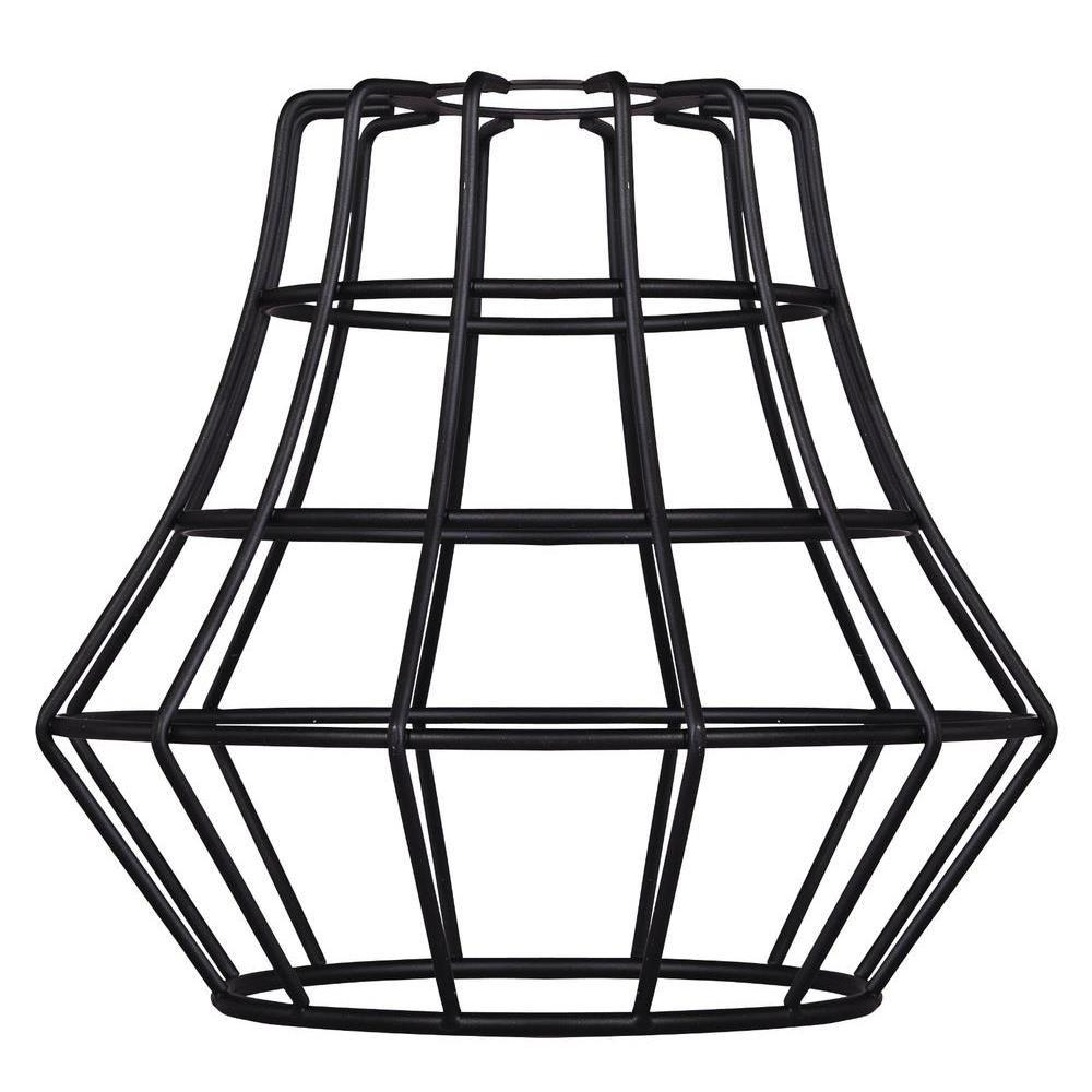 6-1/2 in. Matte Black Angled Cage Shade with 2-1/4 in. Fitter