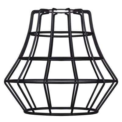 6-1/2 in. Matte Black Angled Cage Shade with 2-1/4 in. Fitter and 7-5/8 in. Width