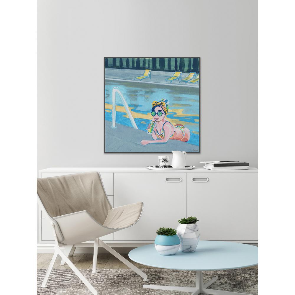 "48 in. H x 48 in. W ""Bow in the Pool"" by Parvez Taj Framed Canvas Wall Art"