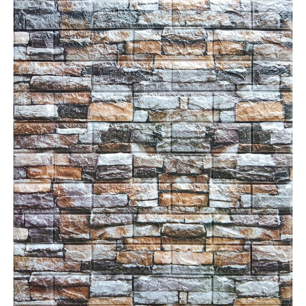 Falkirk Jura II 28 in. x 28 in. Peel & Stick Multicolored Faux Bricks, Stones PE Foam Decorative Wall Paneling (10-Pack)
