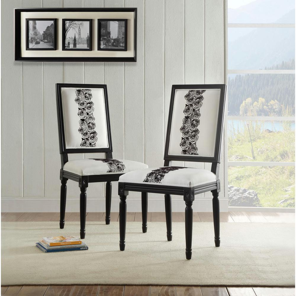 Linon Home Decor Rose White And Black Square Back Chair