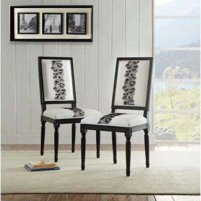 Rose White and Black Square Back Chair (Set of 2)