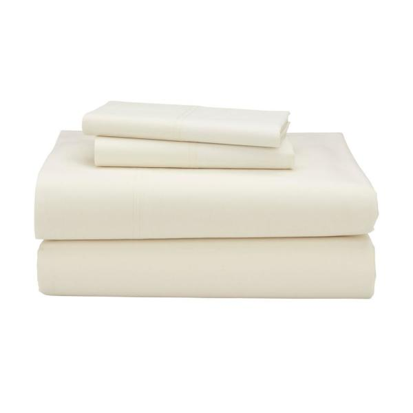 The Company Store 3-Piece Ivory 300 Thread Count Percale Twin Sheet