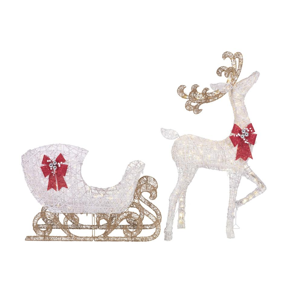 Details About Christmas Yard Standing Deer Sleigh Lighted Standing Outdoor Decor Warm White
