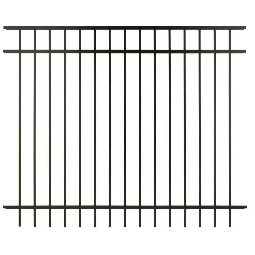 Cercadia 5 ft. H x 6 ft. W Black Aluminum 3-Rail Flat Top Fence Panel - Unassembled-DISCONTINUED