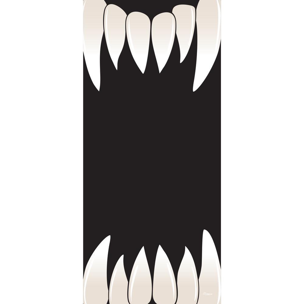 36 in. x 80 in. Scary Teeth Halloween Front Door Decor Mural