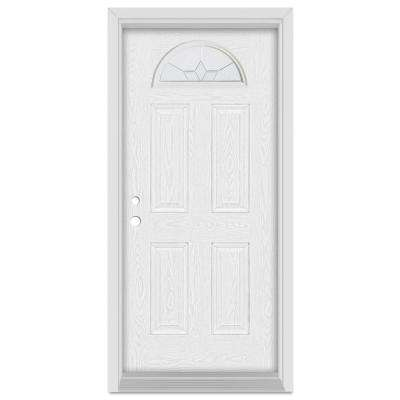 37.375 in. x 83 in. Geometric Right-Hand Half Moon Lite Zinc Finished Fiberglass Oak Woodgrain Prehung Front Door
