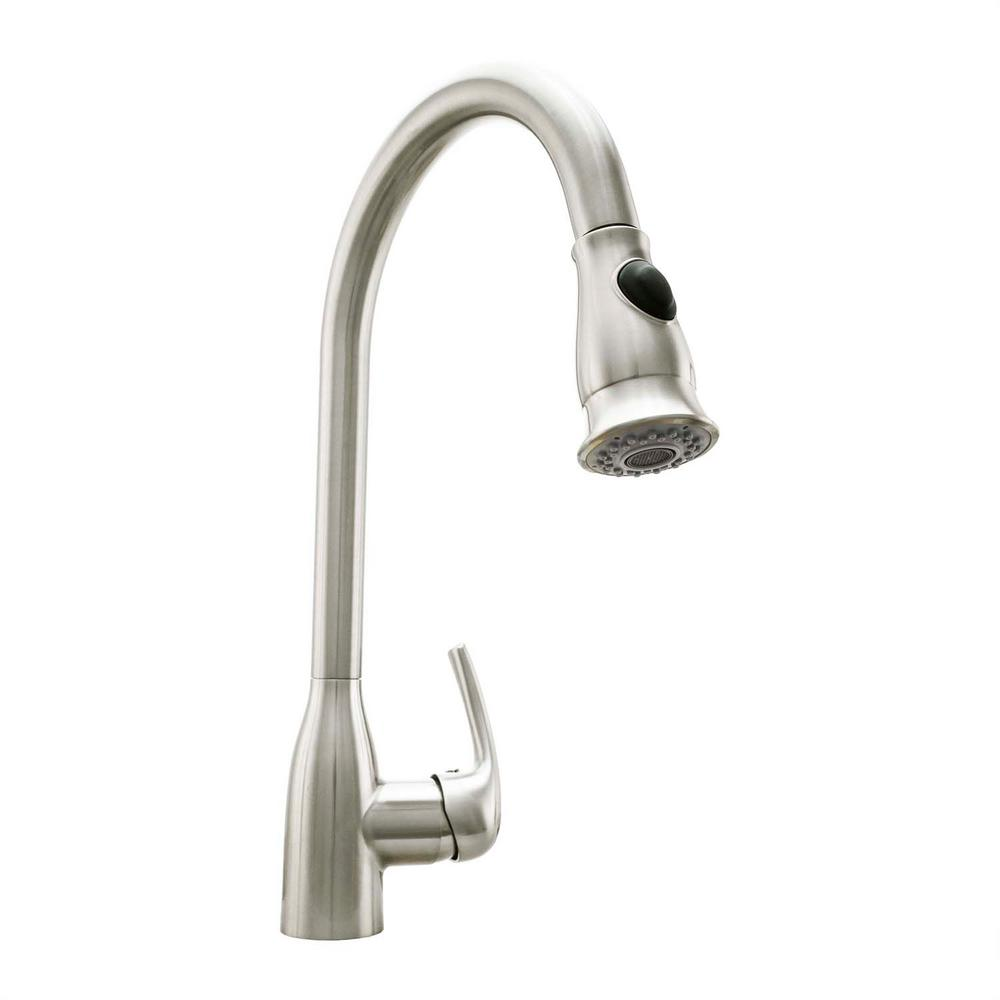pull down kitchen faucet brushed nickel cosmo single handle pull sprayer kitchen faucet with 27406