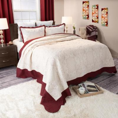 Juliette Embroidered Red Polyester King Quilt