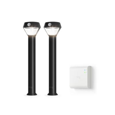 Smart Lighting Motion Activated Outdoor Solar Integrated LED Black Pathlight with Smart Lighting Bridge (2-Pack)
