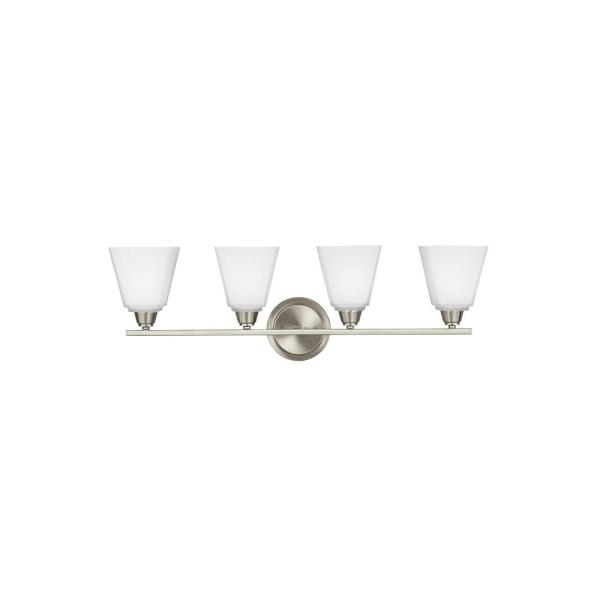 Parkfield 4-Light Brushed Nickel Bath Light with LED Bulbs