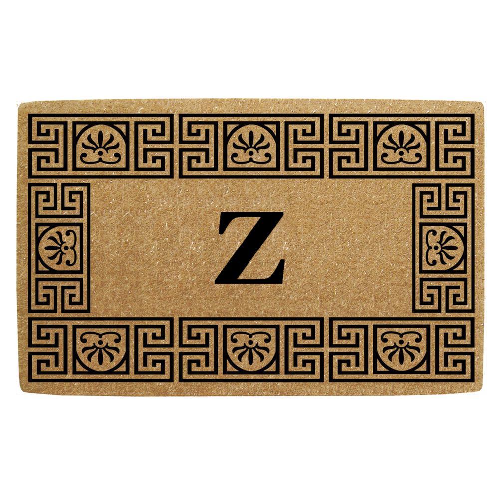 24 in. x 39 in. Greco Heavy Duty Coco Monogrammed Z Door Mat