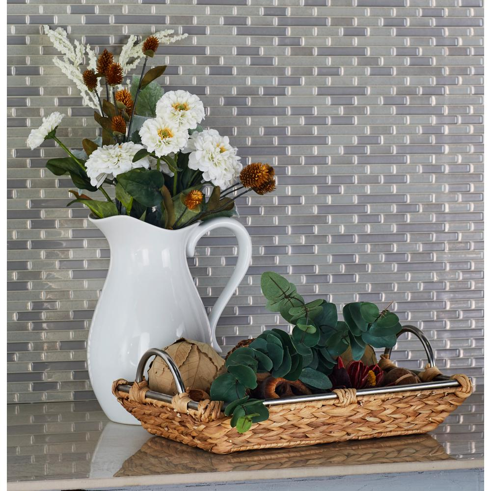 Rectangular Water Hyacinth, Iron and Glass Baskets with Sloping Sides (Set