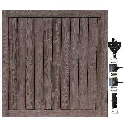 6 ft. W x 6 ft. H Ashland Walnut Brown Composite Privacy Fence Gate