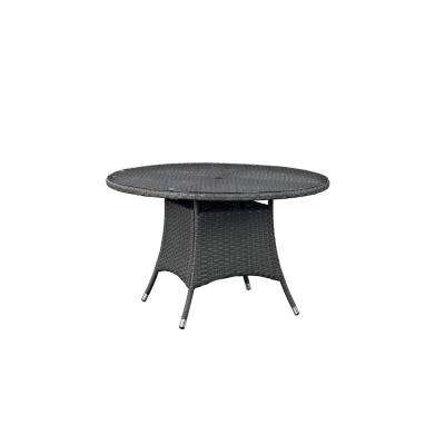 Sojourn in Chocolate Patio Round Wicker Outdoor Dining Table