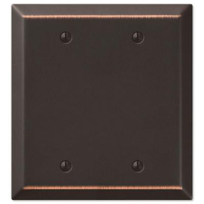 Metallic 2 Gang Blank Steel Wall Plate - Aged Bronze
