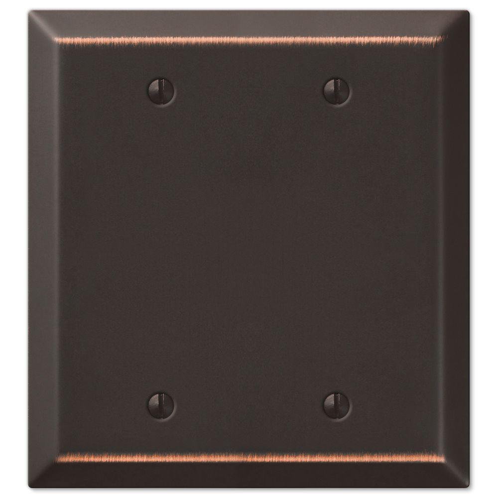 Century 2-Gang Blank Wall Plate, Aged Bronze