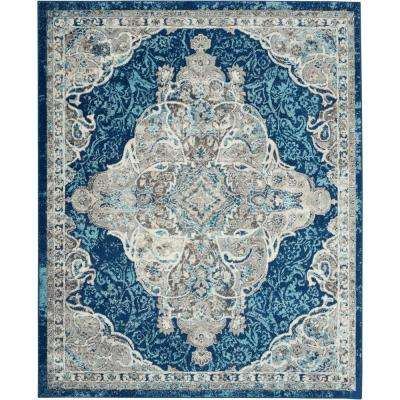Persian Vintage 7 ft. 10 in. x 9 ft. 10 in. Persian Ivory/Turquoise Area Rug