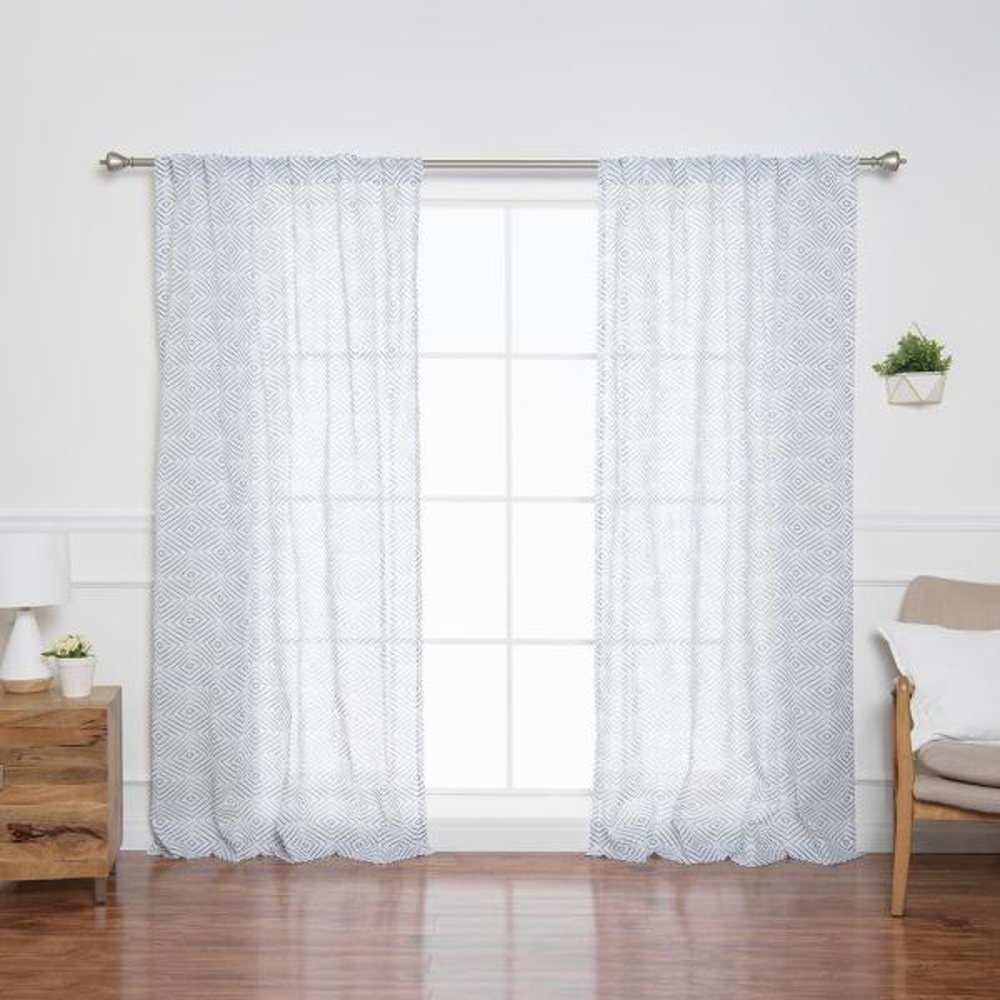 84 in. L Sheer Faux Linen Reverse Diamante Curtain Panels in Indigo (2-Pack)