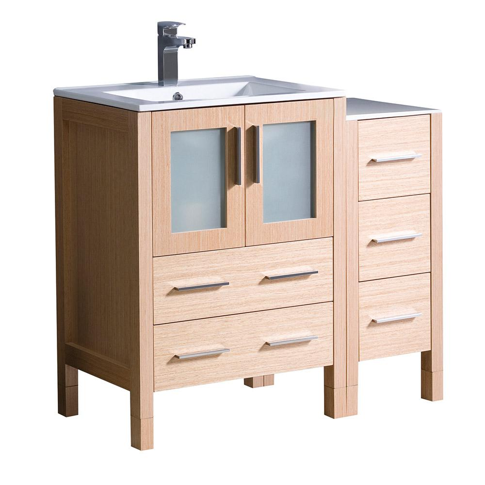 Fresca Torino 36 In. Bath Vanity In Light Oak With Ceramic Vanity Top In White With White Basin