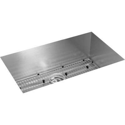 Crosstown Undermount Stainless Steel 31 in. Single Bowl Kitchen Sink with Bottom Grid and Drain