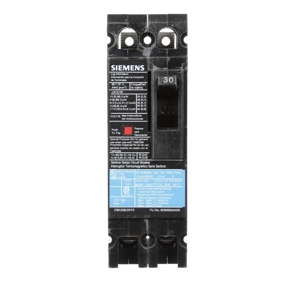 30 Amp 2-Pole Type ED 18 kA Circuit Breaker