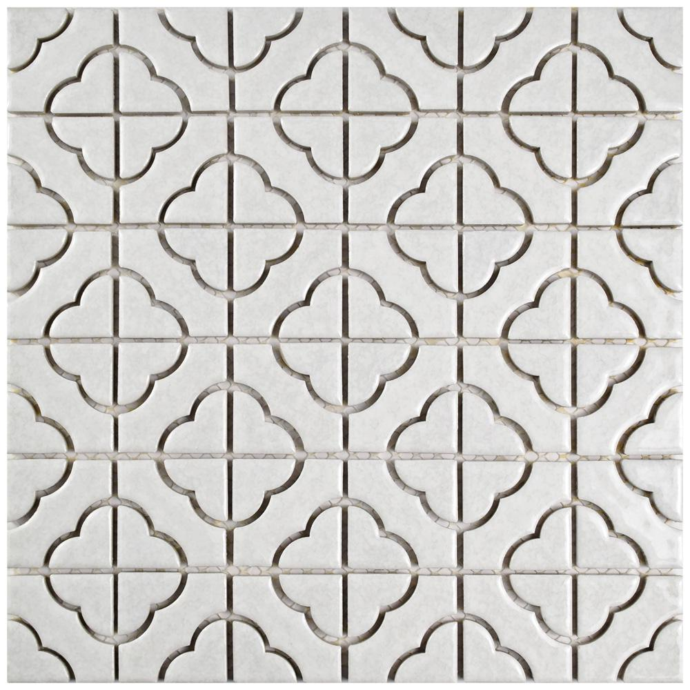 Merola Tile Palace White 11-3/4 in. x 11-3/4 in. x 5 mm Porcelain Mosaic Tile