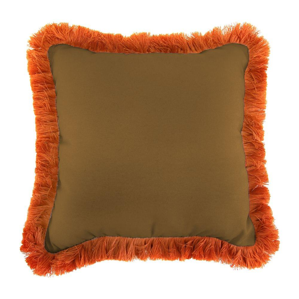 Sunbrella Canvas Teak Square Outdoor Throw Pillow with Tuscan Fringe