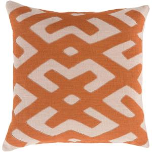 Rigault Orange Geometric Polyester 20 in. x 20 in. Throw Pillow