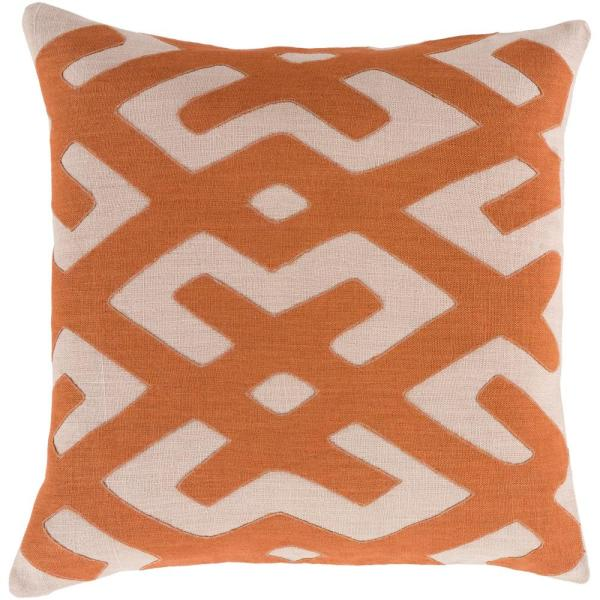 Rigault Orange Geometric Polyester 22 in. x 22 in. Throw Pillow