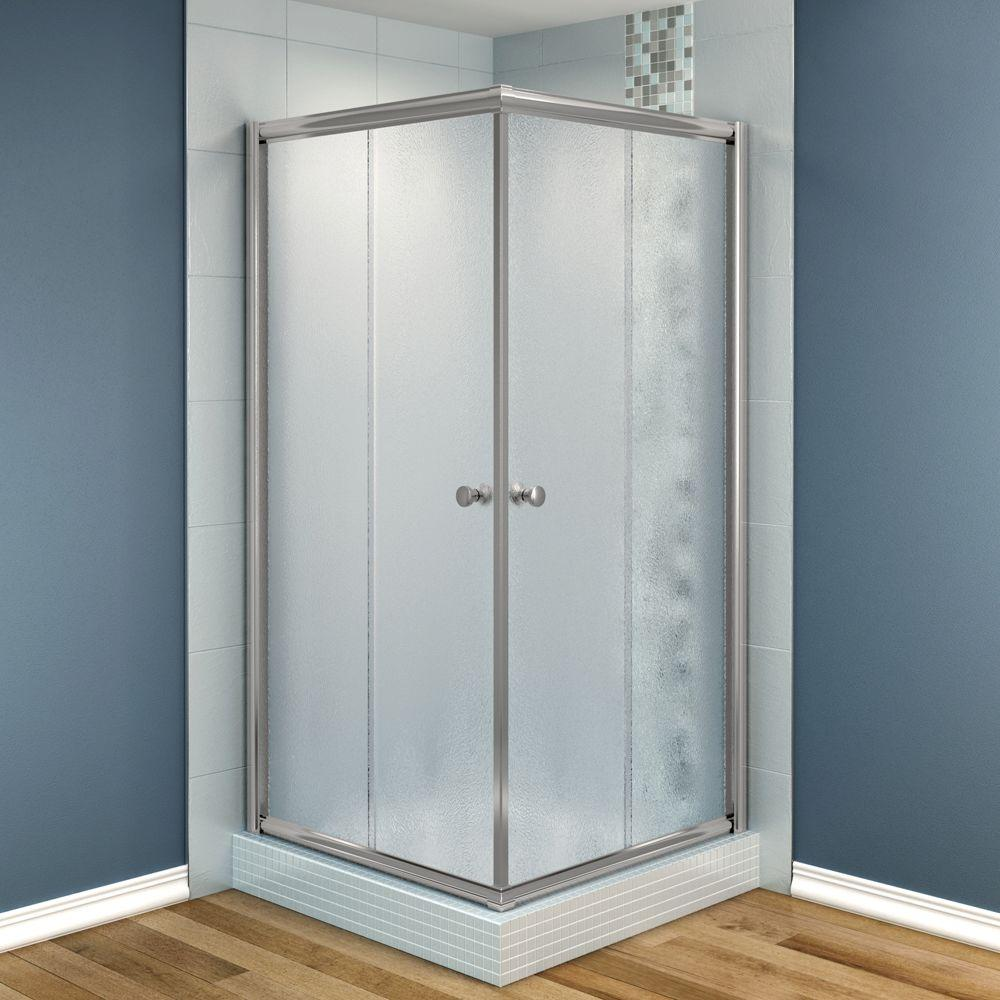 MAAX Centric 32 in. x 32 in. x 70 in. Frameless Corner Shower Door Frost Glass in Nickel Finish-DISCONTINUED