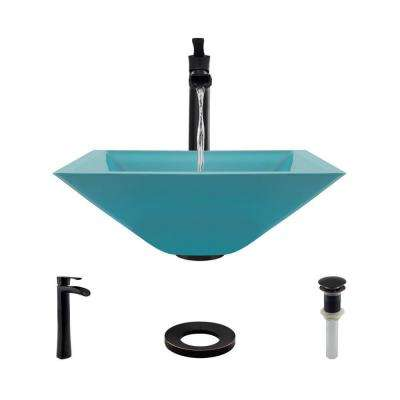 Glass Vessel Sink in Cerulean with R9-7007 Faucet and Pop-Up Drain in Antique Bronze