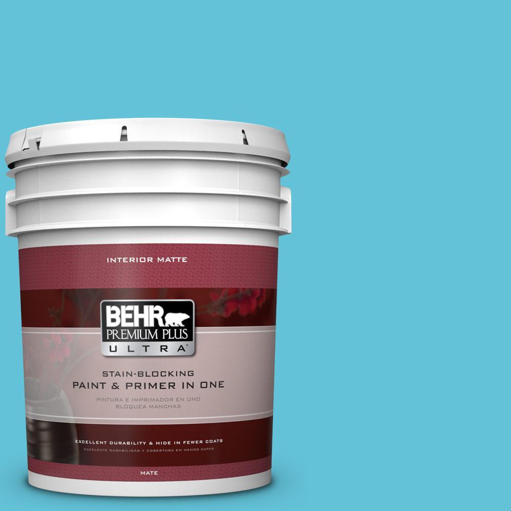 BEHR Premium Plus Ultra 5 gal. #P480-4 Rushing Stream Matte Interior Paint