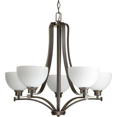 Legend Collection 5-Light Antique Bronze Chandelier with Sculpted Glass
