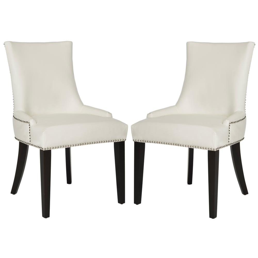 Safavieh Lester White Leather/Espresso 19 In. H Dining Chair (Set Of 2